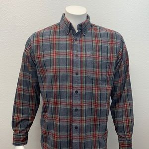 L.L. Bean Vintage Long Sleeve Button Down Plaid Soft Cotton Flannel Shirt Medium